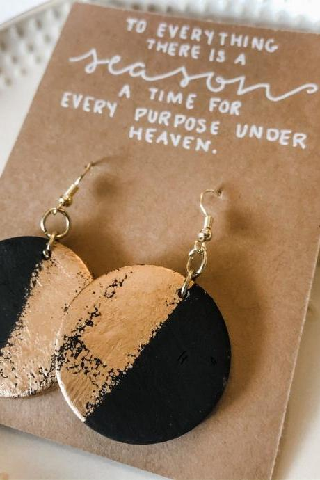 Wooden Black & Gold Earrings